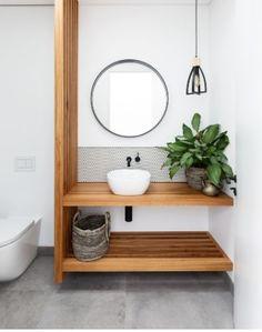 Downstairs Bathroom, Wood Accents, Bath Caddy, Houzz, Indoor Plants, Contemporary, Mirror, Sydney, Furniture