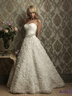 Ivory A-Line Gown Sweetheart Beaded Wrinkle Bodice Taffeta Wedding Dress WDAL004