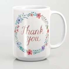 """Thank you! Mug Handwritten calligraphy style """"Thank you"""" in copper glittering lettering surrounded by wildflowers and leaves in watercolor hand-drawn wreath on white textured background."""