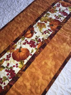 Fall Autumn Table Runner Quilt, Thanksgiving , Orange, Pumpkin Decor, Leaves…