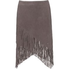 TRUE RELIGION Fringe Mini Grey // Leather mini skirt with fringes (710 BRL) ❤ liked on Polyvore featuring skirts, mini skirts, grey skirt, fringe mini skirt, short skirts, long gray skirt and gray skirt