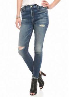 7 For All Mankind Vintage Kensington Wash High Waist Destructed Skinny Jean