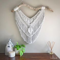 """Made By Miss Jade • Macrame on Instagram: """"• LILY • new piece! EDIT-SOLD I so nearly kept this large wall hanging for our home but lucky for someone else, we've run out of wall room…"""""""