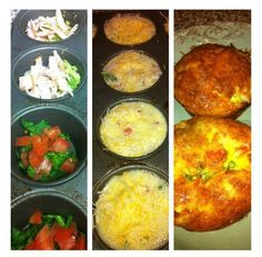 Egg Muffins: Spray a muffin pan non-stick spray.  Fill with ANYthing you want:ham,broccoli,chicken,carrots, spinach,feta & tomatoes,steak & bell peppers.(Note: add all veggies RAW - they will cook to perfection during the baking process) Mix approx 1 egg per/muffin in a blender w/ a splash of milk. Pour directly into each cup just below the rim.Top with shredded or sliced cheeses of your choice.Bake at 425 degrees for approx 20 min. Let cool before removing from pan.
