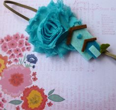 Beautiful Bloom Flower Headband Turquoise by Stephsjewels4ella, $6.00