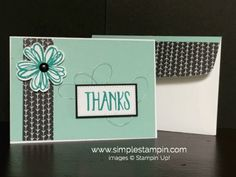 handmade thank you card ... black and white with mint .. like the coordinating evelope flap ... Stampin' Up!