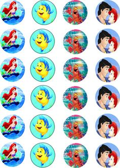 """Ariel - The Little Mermaid Various - Rice Paper 1.5"""" Fairy Cup Cake Toppers x24 