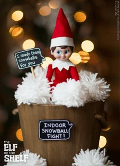 The Elf on the Shelf®~Elf indoor snowballs these won't melt. Noel Christmas, All Things Christmas, Christmas Holidays, Christmas Crafts, Christmas Decorations, Christmas Ideas, Magical Christmas, Family Christmas, Happy Holidays