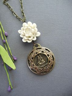 White Lotus Temple Buddha Necklace in Bronze by liliswan on Etsy, $29.00