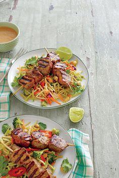 Broccoli Recipes: Beef Kabobs with Broccoli Slaw and Peanut Sauce Recipe