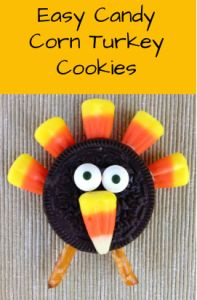 Easy Candy Corn Turkey Cookies to keep the little ones entertained while you clean up after dinner and bring out the REAL desserts!