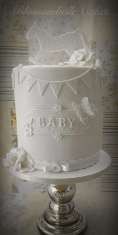 Vintage style baby shower cake - double barrel by Blossombelle Cakes & Eliza Howard Virgona