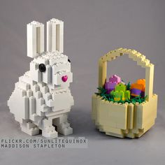 Bunny and chick easter lego set lego bunny and easter here is a cute easter bunny with a cute clickit heart nose and a mini basket of eggs i finally have a use for all the flower pieces i bought negle Image collections