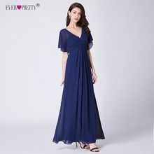 Navy Blue Chiffon Evening Dresses Long Ever Pretty New V-neck Elegant Long Dress A-line Burgundy Party Gowns Vestidos Festa(China) Bridesmaids, Bridesmaid Dresses, Wedding Dresses, Short Sleeve Dresses, Dresses With Sleeves, Chiffon Evening Dresses, Party Gowns, Formal Prom, Homecoming