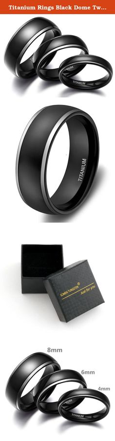 Titanium Rings Black Dome Two Tone Polish Wedding Engagement Band for Men Women. What are the benefits of titanium jewelry? Hypoallergenic Our titanium rings and other jewelry pieces are hypoallergenic. The metal is not prone to discoloration and will not cause any allergic reaction, skin irritations or discomfort. It is absolutely safe for those who suffer from nickel allergy. Strong and Durable Our jewelry pieces are made of aircraft grade Ti-64, the hardest alloy Ti-662 and pure…
