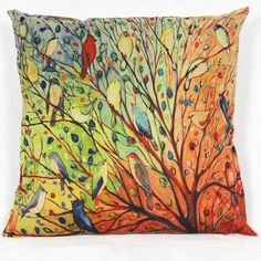 MSY Abstract Trees and Birds Cotton Linen Decorative Throw Pillow Case Cushion Cover, 18 x 18 inches >>> To view further, visit now : DIY : Do It Yourself Today