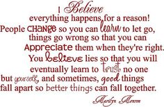 i believe everything happens for a reason - Google Search