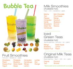 """Bubble teas - just recently tried a bubbly strawberry black tea for the first time. You have to get used to the tapioca """"bubbles"""" but it's fun!"""
