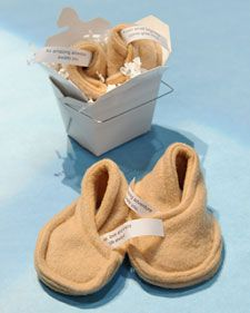 Fortune cookie baby booties! These would be so cute to make for a baby shower gift :-)
