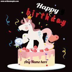 Unicorn Birthday Cake With Name Edit - Party Home Happy Birthday Cake Writing, Birthday Cake Write Name, Birthday Wishes With Name, Birthday Wishes Flowers, Birthday Wishes Cake, Happy Birthday Cake Images, Cake Name, Birthday Cake Girls, Unicorn Birthday