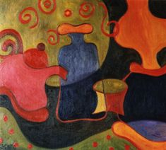 """Objetos Danzantes I"" -  1998 óleo sobre fibra 50 x 60 cm."