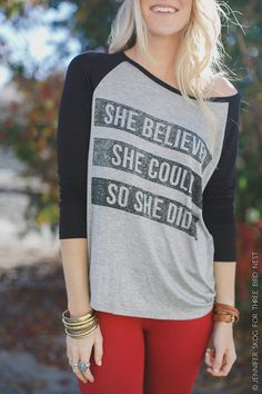 She Believed She Could So She Did Shirt, Graphic Tees, Screen Printed, Inspirational Shirts, Baseball T's SIZE SMALL