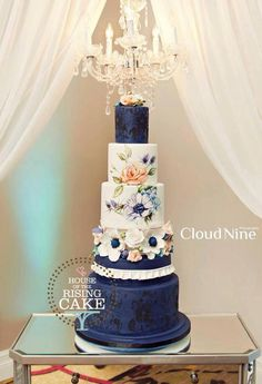 Tartas de boda - Wedding Cake - Cake by House Of The Rising Cake Beautiful Wedding Cakes, Gorgeous Cakes, Pretty Cakes, Amazing Cakes, Cake Design Inspiration, Wedding Cake Inspiration, Hand Painted Cakes, Blue Cakes, Occasion Cakes