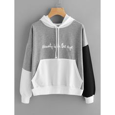 Color Block Slogan Print Kangaroo Pocket Hoodie (€13) ❤ liked on Polyvore featuring tops, hoodies, multicolor, color block hoodies, pullover hoodie, colourblock hoodie, pullover hoodies and print hoodie