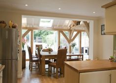 Rear extension in Wimbledon. Build cost - added to the value of the property. That's what I'd call a good return on your investment! Rear Extension, Extension Ideas, Oak Framed Extensions, Kitchen Diner Extension, Timber Frame Homes, Better Together, Country Kitchen, Wimbledon, Interior Design