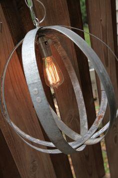 Wine Barrel Ring Metal Orb Pendant Light by InteriorCreationsJen inspiration