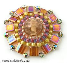 Tila bead circle - bead weaving, glass bead, seed beads, crystals, tila beads. Image copyright © Rose Rushbrooke.