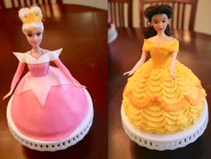 Disney Princess cakes Aurora and Belle