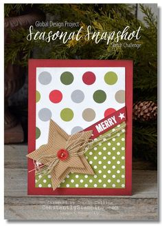 christmas card with stars - weihnachten Karte - Corrugated Paper Stampin Up