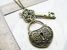 Filigree Skeleton key and padlock Steampunk necklace key hole etruscan large jumbo huge lock heart shape swirls on Etsy, $15.00