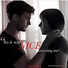 """Jamie Dornan and Dakota Johnson Fifty shades of grey movie """"Think again Ana. :)"""" One of my favourite quotes <4"""