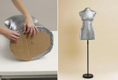 Make your own you-sized sewing form mannequin using duct tape, a t-shirt, pillow stuffing, and a metal stand.