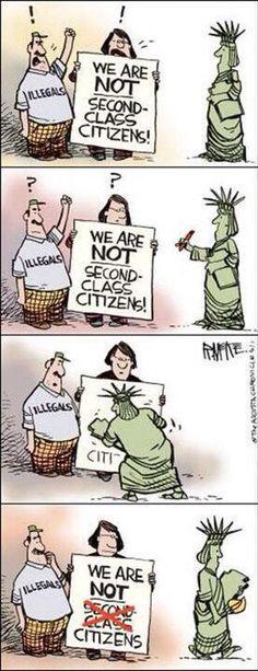 Illegals, viens ici légalement ou rejoins-nous! Et pas de cadeaux ... Nous n'autorisons plus les bibliothèques à acheter des votes!