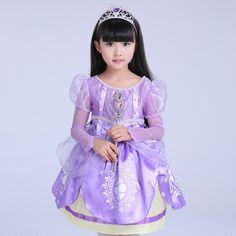 New Year Children Sofia Princess Party Dress Kids Cosplay Cartoon Movie Christmas Long Sleeve Dresses Child Birthday Gift