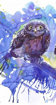 Owl decor Watercolor Painting, two birds,owl Art Print, Bird Painting, blue art…