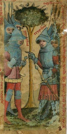 14th century helmet / helmets ( manuscript : DKB GKS 1377 4º Biblia Pauperum leaf, Folio b, 1400, Germany )
