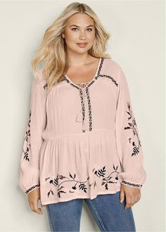 b0a07e028e80b Venus Women s Plus Size Embroidered Peasant Blouse Tops - Pink