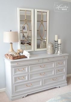 How to style a dresser for the home bedroom dressers low master decorating ideas small spaces . Refurbished Furniture, Grey Bedroom Furniture, Bedroom Makeover, Furniture, Home, Interior, Diy Furniture, Dresser Decor, Home Decor