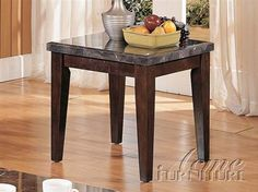 Danville Black Marble Stone Wood End Table