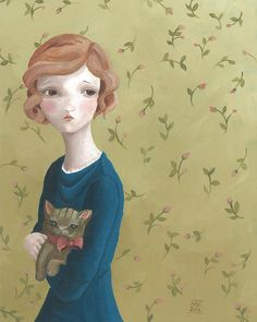Portrait of a Girl with a Cat ...