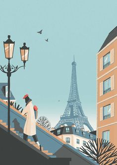 Sunday strolling - this time last week. It's hard not to be impressed by the magnificence of the Eiffel Tower . Travel Illustration, Digital Illustration, Landscape Illustration, Illustration Parisienne, Paris Kunst, Art Parisien, Photo Images, Story Instagram, Design Graphique