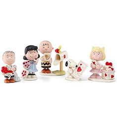 Lenox Peanuts Snoopy Valentines Day Set of 5 Figurines @ niftywarehouse.com #NiftyWarehouse #Peanuts #CharlieBrown #Comics #Gifts #Products