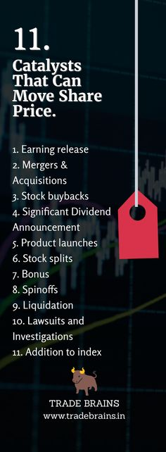 11 Must-Know Catalysts That Can Move The Share Price- The catalysts are the certain special events that are capable to push the price. Here are 11 catalysts that can move the share price- Bonus, Spinoffs. Stock Market Investing, Investing In Stocks, Investing Money, Investment Quotes, Investment Tips, Investing In Shares, Trade Finance, Finance Business, Stock Trading Strategies