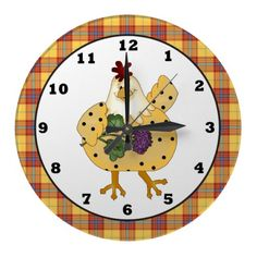 Country Chicken apron wall clock