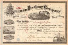 American Dredging Company stock certificate 1899 (Pennsylvania)