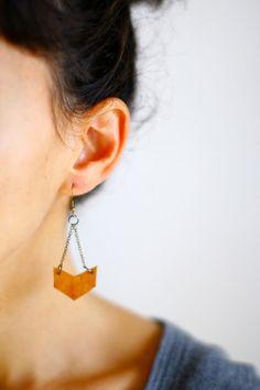 Minimalist Leather Chevron Earrings - Antique Tan - Vintage Oxidized Brass Chain. $28.00, via Etsy.